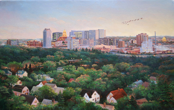 Rochester, Minnesota Skyline Oil Painting by Charlotte Wiskow